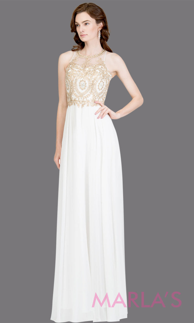 Long high neck white flowy dress with gold lace top & low back.This white a-line gown is perfect as a white prom dress, formal wedding guest dress, formal bridesmaid dress, indowestern white formal party dress, bridal dress. Plus sizes avail