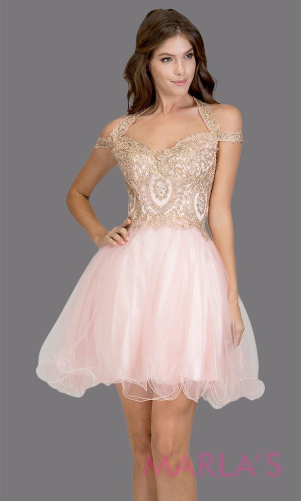 ac9cd07d41e75 Short off shoulder tulle blush pink grade 8 grad dress with gold lace. This  puffy ...