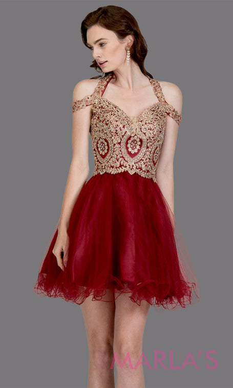 bd3a8dd7b9fc Short off shoulder tulle burgundy red grade 8 grad dress with gold lace.  This puffy