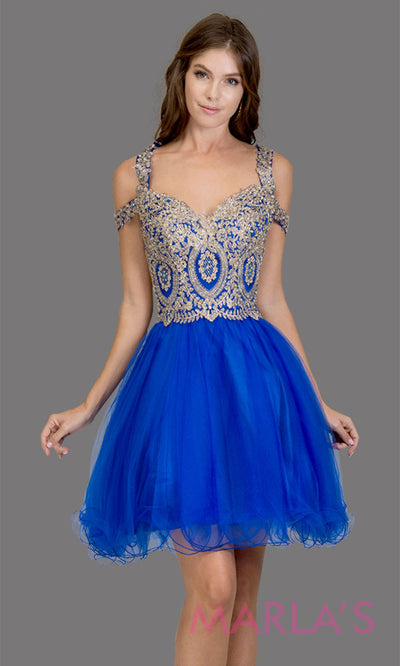 Short off shoulder tulle royal blue grade 8 grad dress with gold lace. This puffy simple royal blue graduation dress is great as quinceanera damas, sweet 16 birthday, bat mitzvah, confirmation, junior bridesmaid, 8th grade. Plus sizes avail