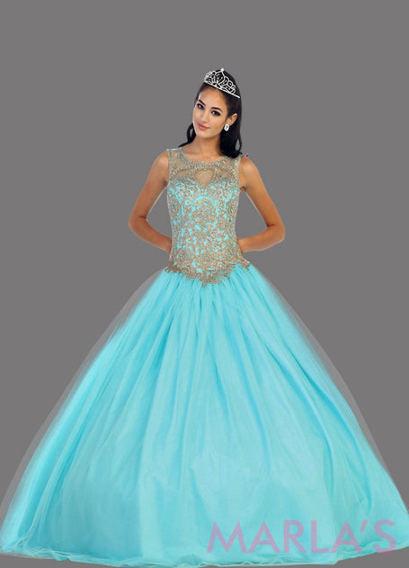 ddb629573cf Long aqua blue high neck princess quinceanera ball gown with rhinestone  beading. Perfect light blue