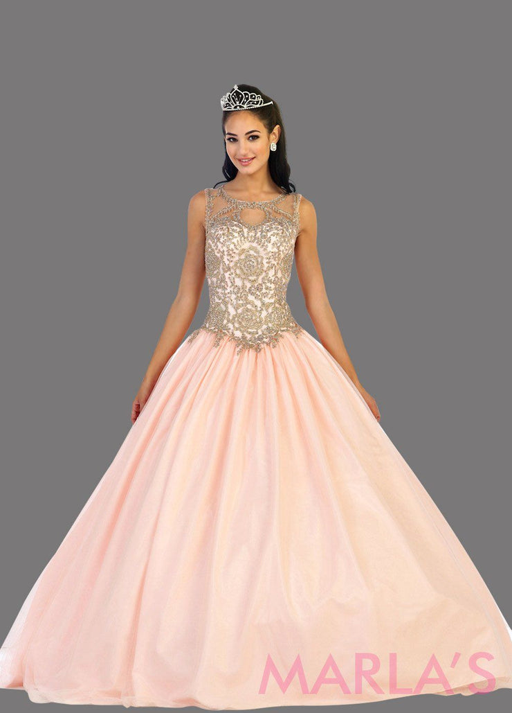 Long blush pink high neck princess quinceanera ball gown with rhinestone beading. Perfect light pink dress for Engagement dress, Quinceanera, Sweet 16, Sweet 15 and pink Wedding Reception Dress. Available in plus