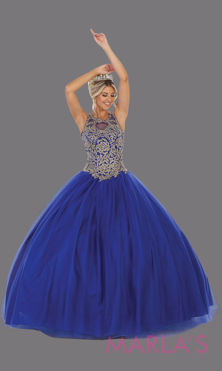 Long royal blue princess quinceanera ball gown with gold lace high neck. Perfect for Blue Engagement ballgown dress, Quinceanera, Sweet 16, Sweet 15, Debut and royal blue Wedding Reception Dress. Available in plus sizes.