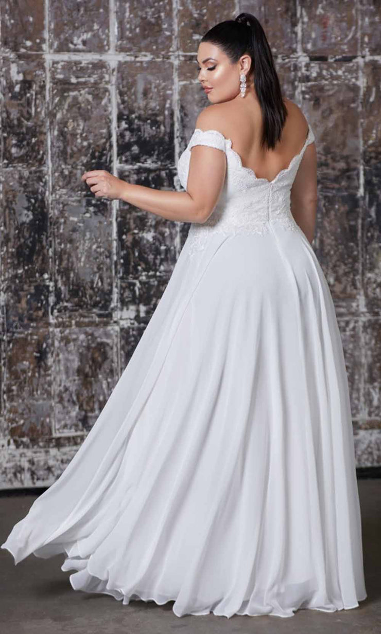 Cinderella Divine - 7258W Beaded Lace Off Shoulder Chiffon Gown In White