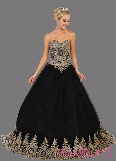 Long strapless black ball gown dress with gold lace applique on bust and bottom of skirt. Perfect for Quinceanera, Sweet 15, Sweet 16, Wedding Reception, Wedding Engagement, Indian Wedding. Avail in Plus Sizes