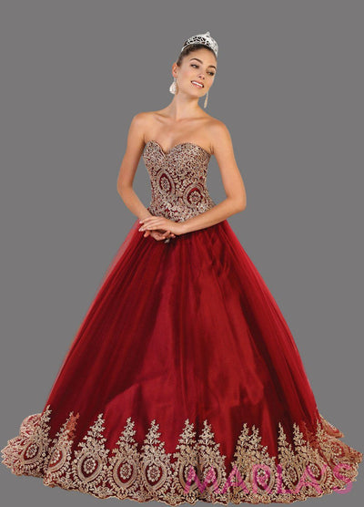 Long strapless burgundy ball gown dress with gold lace applique on bust and bottom of skirt. Perfect for Quinceanera, Sweet 15, Sweet 16, Wedding Reception, red Wedding Engagement, Indian Wedding. Avail in Plus Sizes