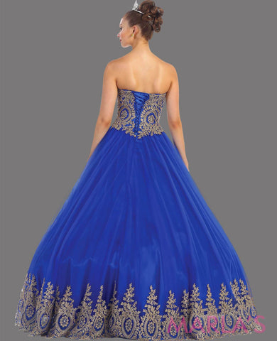 Back of long royal blue princess ball gown with gold lace trim and shrug Perfect for Engagement dress, Quinceanera, Sweet 16, Swet 15 and Blue Wedding Reception Dress. Available in plus sizes