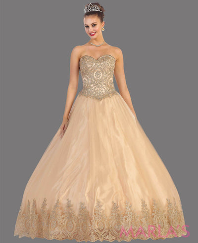 Long champagne princess ball gown with gold lace trim. Perfect for Engagement dress, Quinceanera, Sweet 16, Swet 15 and light gold Wedding Reception Dress. Available in plus sizes