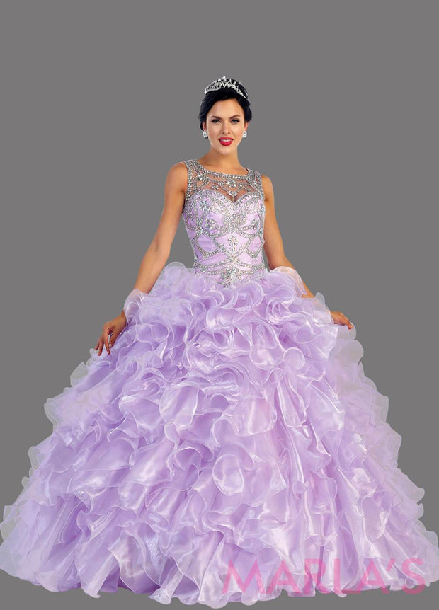 Long lilac princess ball gown with gold lace trim and shrug Perfect for Engagement dress, Quinceanera, Sweet 16, Swet 15 and light purple Wedding Reception Dress. Available in plus sizes