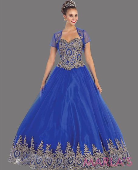73.13L-Long royal blue princess ball gown with gold lace trim and shrug Perfect for Engagement dress, Quinceanera, Sweet 16, Swet 15 and Blue Wedding Reception Dress. Available in plus sizes