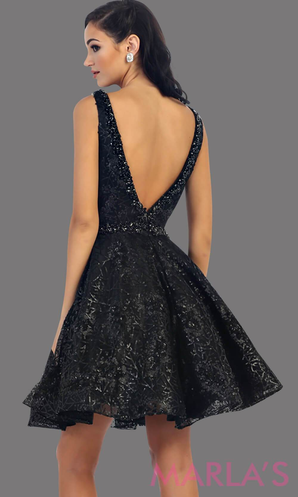7438-Back of short black dress with deep V neck and back. This is a perfect grade 8 grad dress, graduation dress, black wedding guest dress, short prom dress or even damas dress. Available in plus sizes