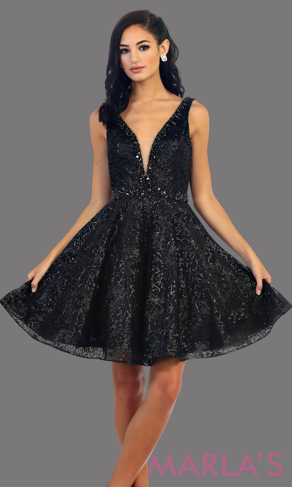 7438-Short black dress with deep V neck and back. This is a perfect grade 8 grad dress, graduation dress, black wedding guest dress, short prom dress or even damas dress. Available in plus sizes