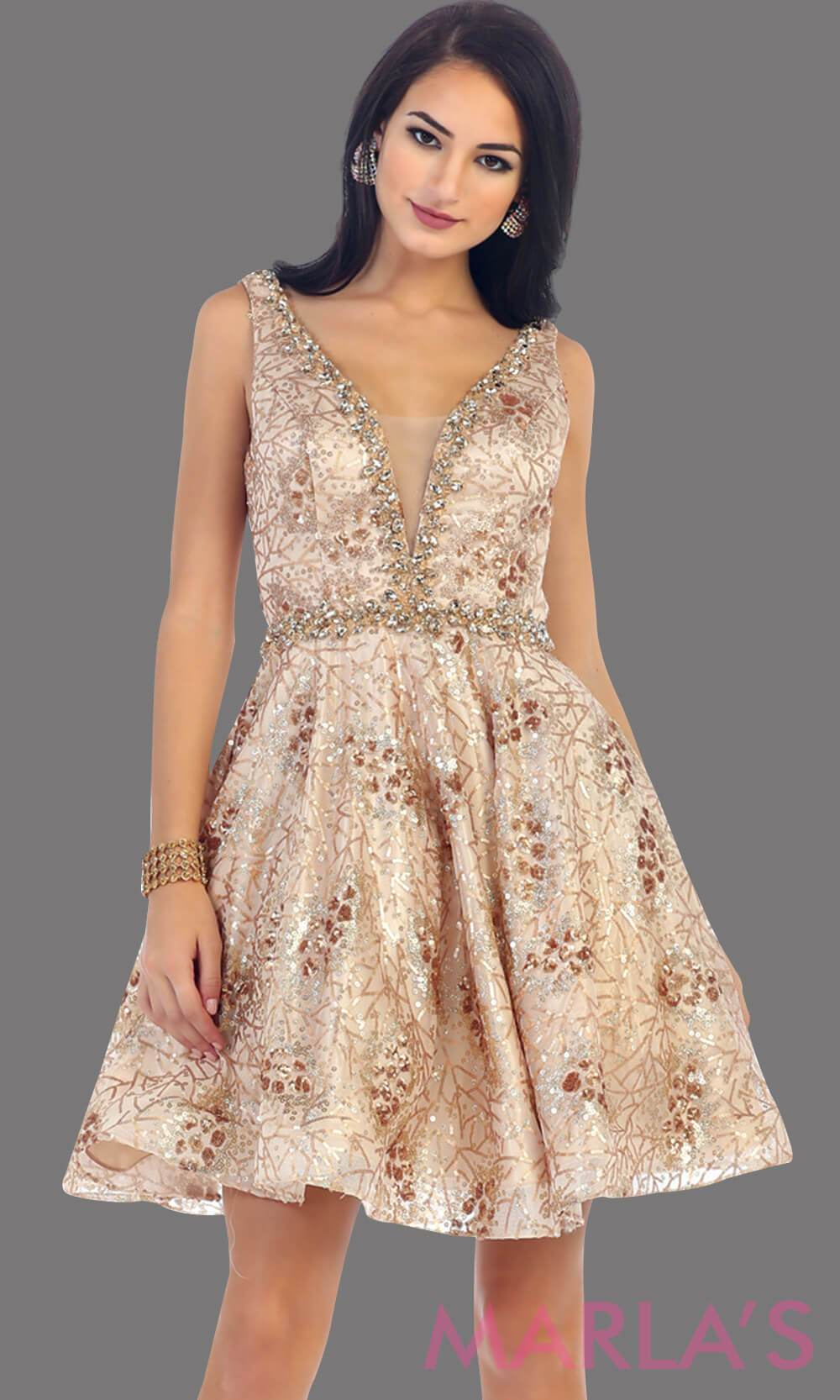 7438-Short champagne dress with deep V neck and back. This is a perfect grade 8 grad dress, graduation dress, taupe wedding guest dress, short prom dress or even damas dress. Available in plus sizes