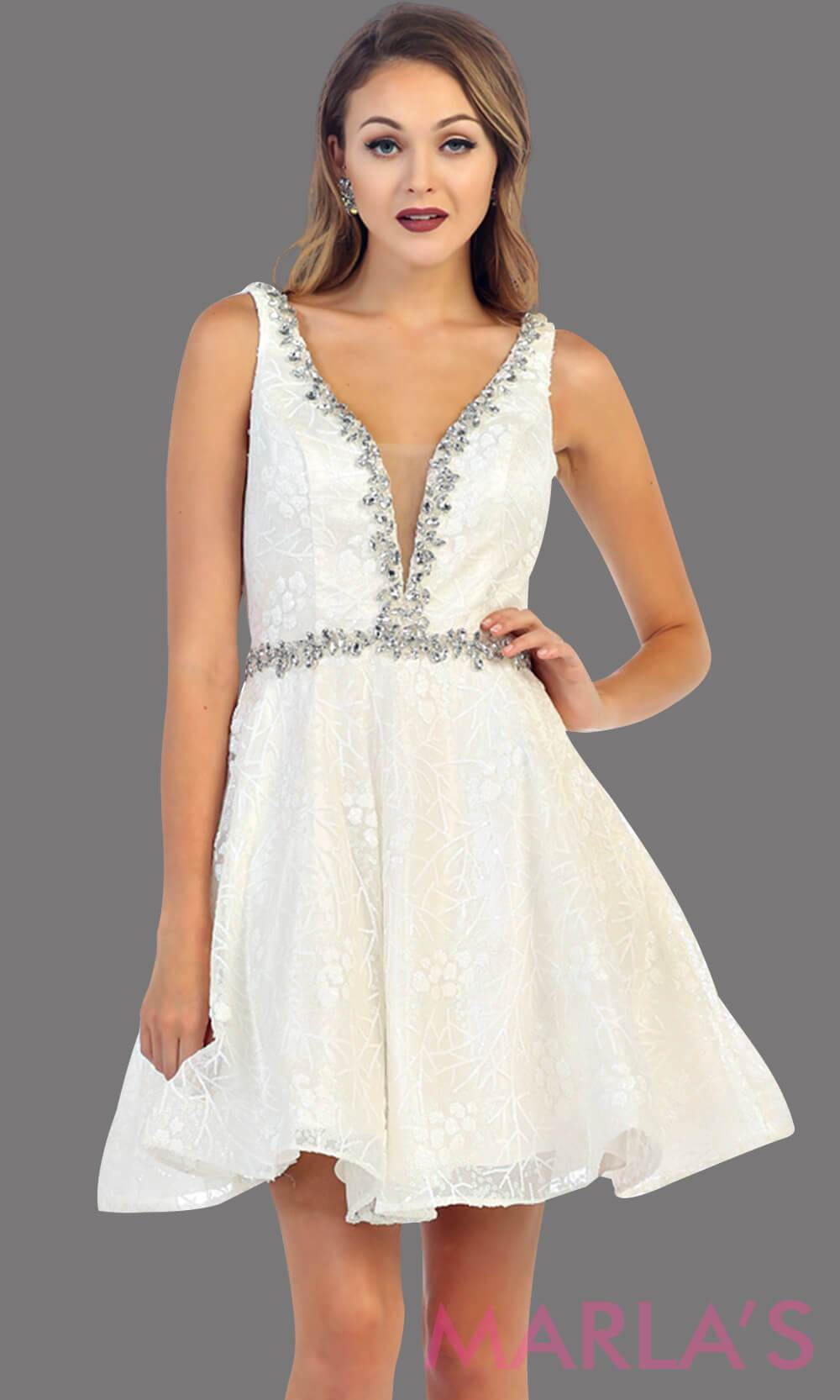 7438-Short white dress with deep V neck and back. This is a perfect grade 8 grad dress, graduation dress, white bridal shower, short wedding dress, short prom dress or even damas dress. Available in plus sizes