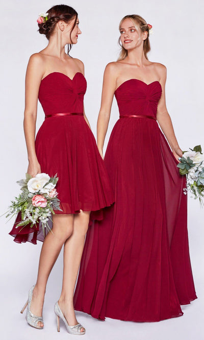 Cinderella Divine - 7455 Ruched Chiffon A-Line Dress In Red