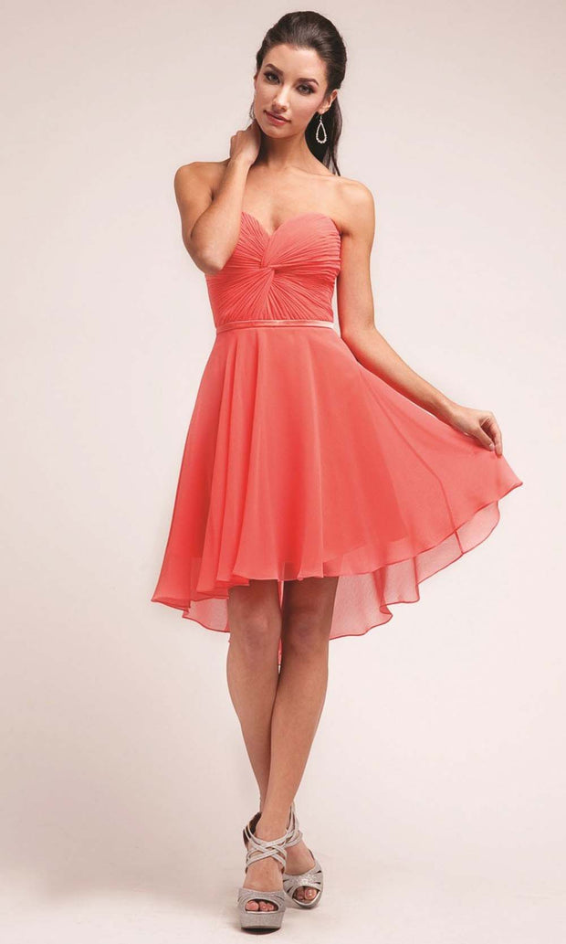 Cinderella Divine - 7456 A-Line Chiffon Short Dress In Coral & Orange,