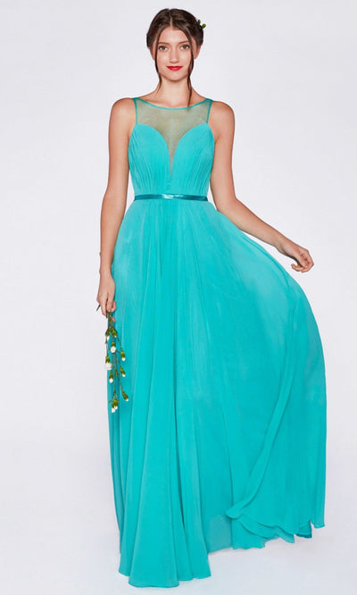 Cinderella Divine - 7458 Illusion Neckline Chiffon Gown In Green