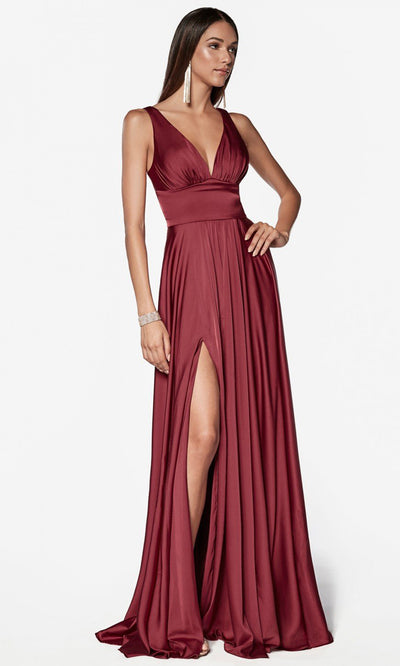 Cinderella Divine - 7469 V Neck Satin A-Line Dress In Burgundy