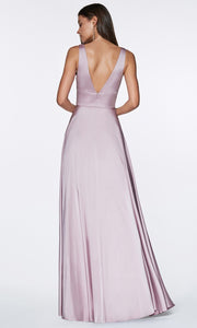 Cinderella Divine - 7469 V Neck Satin A-Line Dress In Pink