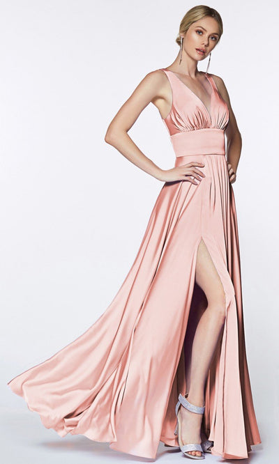 Cinderella Divine - 7469 V Neck Satin A-Line Dress