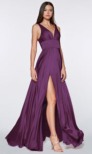Cinderella Divine - 7469 V Neck Satin A-Line Dress In Purple