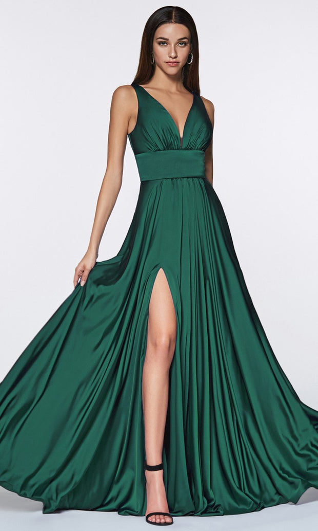 Cinderella Divine - 7469 V Neck Satin A-Line Dress In Green