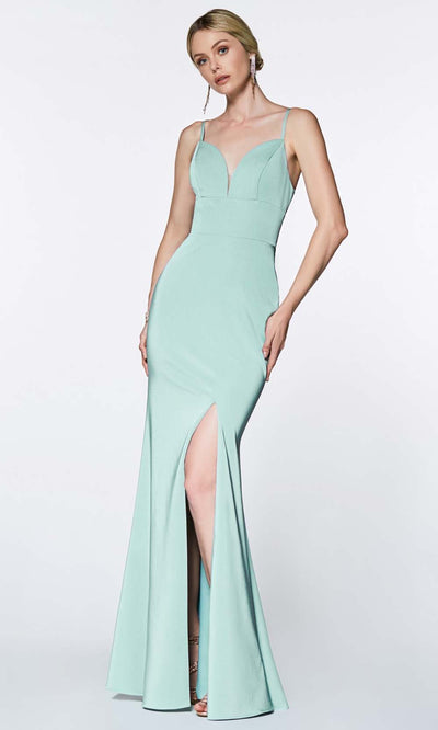 Cinderella Divine - 7470 Sleeveless High Slit Dress In Blue