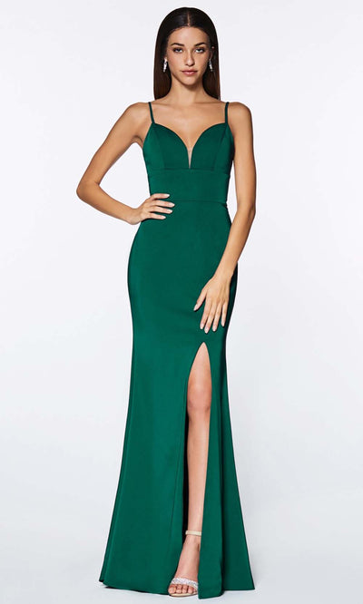 Cinderella Divine - 7470 Sleeveless High Slit Dress In Green
