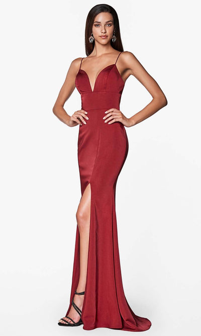 Cinderella Divine - 7470 Sleeveless High Slit Dress In Red