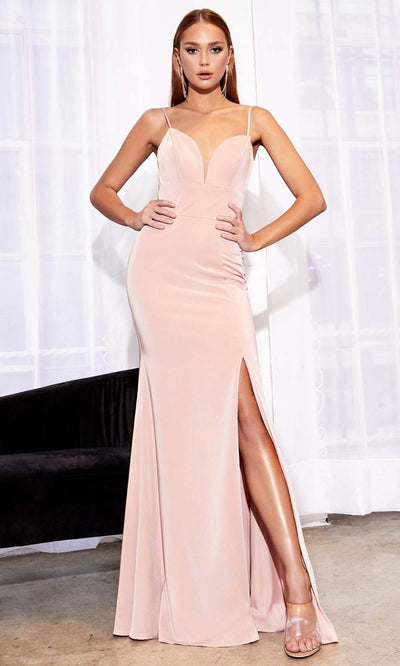 Cinderella Divine - 7470 Sleeveless High Slit Dress In Pink
