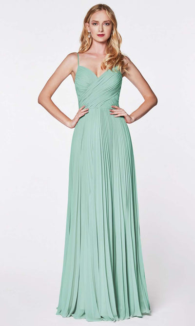 Cinderella Divine - 7471 Sleeveless Ruched A-Line Gown In Green