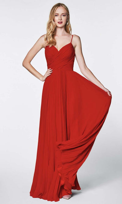 Cinderella Divine - 7471 Sleeveless Ruched A-Line Gown In Red