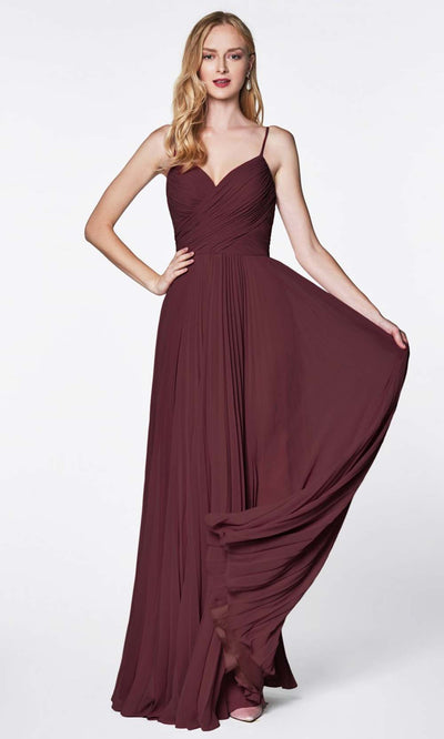 Cinderella Divine - 7471 Sleeveless Ruched A-Line Gown In Burgundy