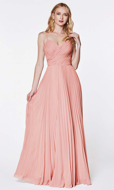 Cinderella Divine - 7471 Sleeveless Ruched A-Line Gown In Pink