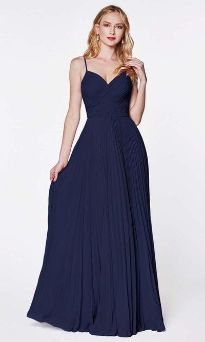 Cinderella Divine - 7471 Sleeveless Ruched A-Line Gown In Blue