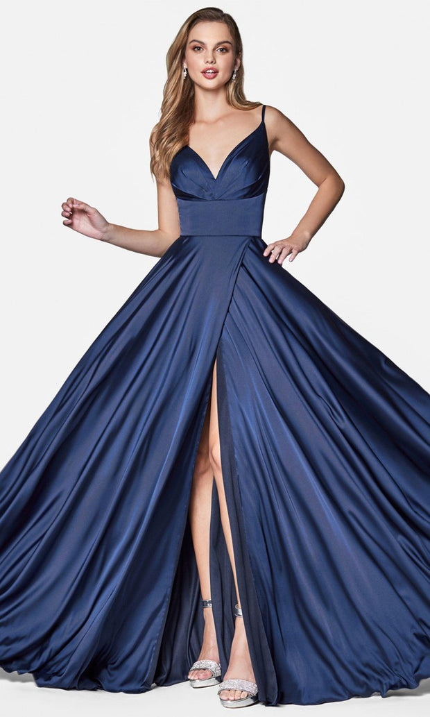 Cinderella Divine - 7472 High Wrap Slit Satin Gown in Blue