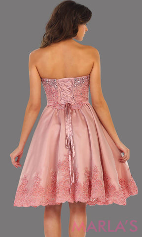 7476-Back mid length pink strapless dress with lace detail and corset back. Perfect for grade 8 graduation dress, confirmation dress, wedding guest dress, sweet 16 dress, quinceanera, damas, or short pink prom dress. Avail in plus sizes