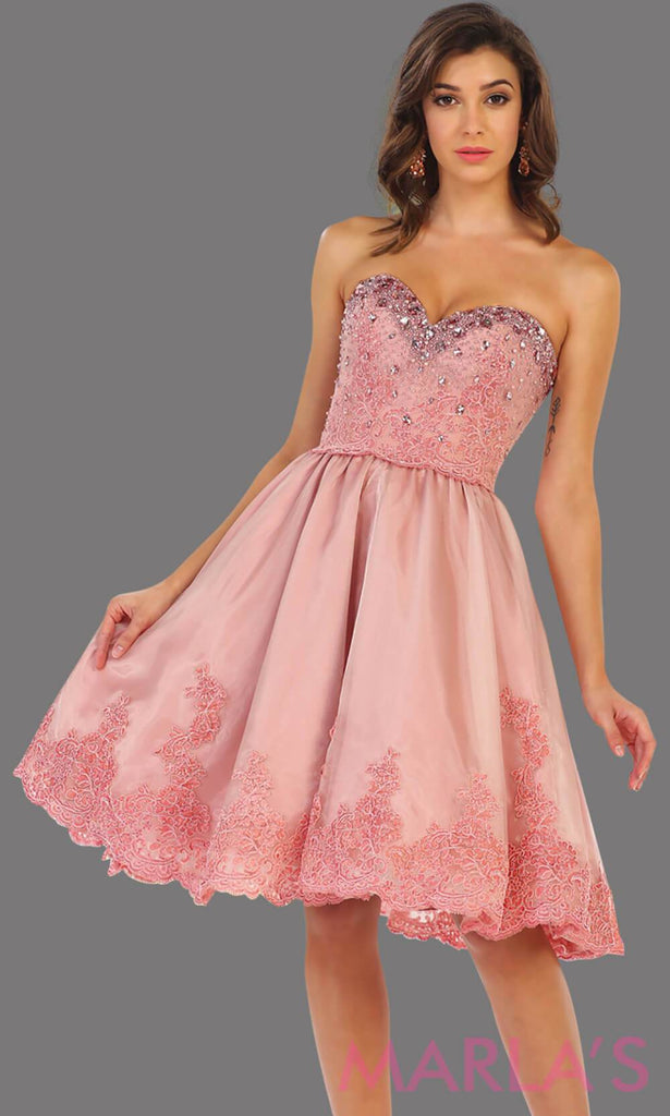 62766efbbe1 7476-Mid length pink strapless dress with lace detail and corset back.