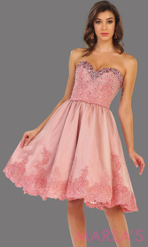 7476-Mid length pink strapless dress with lace detail and corset back. Perfect for grade 8 graduation dress, confirmation dress, wedding guest dress, sweet 16 dress, quinceanera, damas, or short pink prom dress. Available in plus sizes