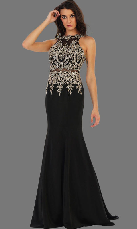 Long black mermaid dress with open back. It has beaded gold lace bodice. Perfect for Prom, black engagement dress, wedding reception dress, formal wedding guest dress or party gown. Plus size available.