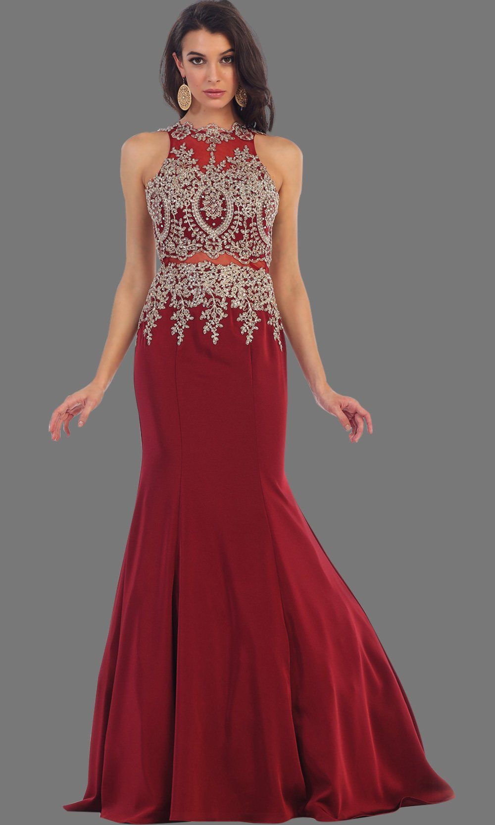 Long burgundy mermaid dress with open back. It has beaded gold lace bodice. Perfect for Prom, dark red engagement dress, wedding reception dress, formal wedding guest dress or party gown. Plus size available.