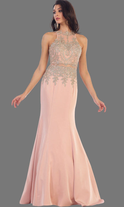 Long dusty rose mermaid dress with open back. It has beaded gold lace bodice. Perfect for Prom, pink engagement dress, wedding reception dress, formal wedding guest dress or party gown. Plus size available.
