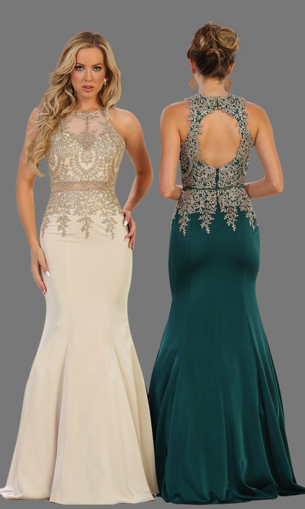 Long hunter green mermaid dress with open back. It has beaded gold lace bodice. Perfect for Prom, dark green engagement dress, wedding reception dress, formal wedding guest dress or party gown. Plus size available.