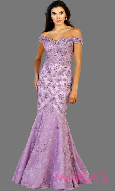 Long lilac offshoulder lace mermaid evening dress with sequin beading. This full length light purple gown is perfect for wedding reception, gala, wedding guest dress, mother of the bride, engagement dress. Avail in plus sizes.