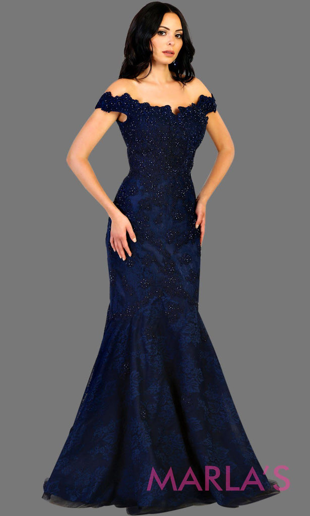 ba9d20fd33c Long navy blue offshoulder lace mermaid evening dress with sequin beading.
