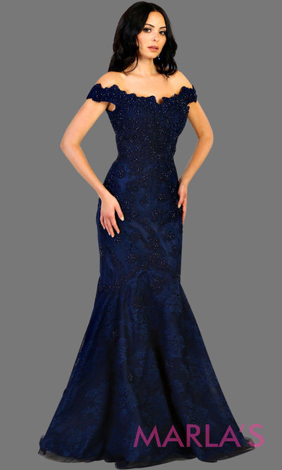 Long navy blue offshoulder lace mermaid evening dress with sequin beading. This full length dark blue gown is perfect for wedding reception, gala, wedding guest dress, mother of the bride, engagement dress. Avail in plus sizes.
