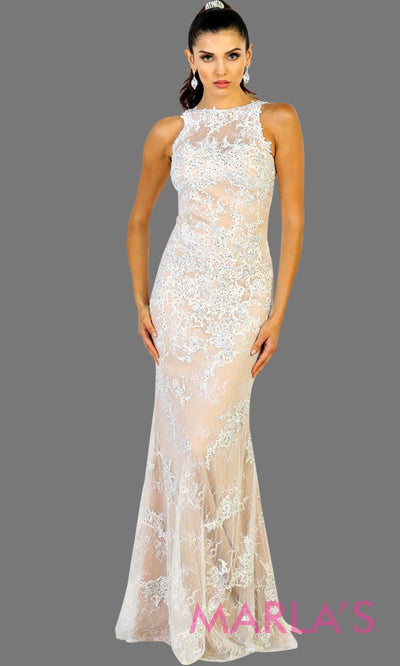Long champagne and ivory mermaid lace dress with low v back.This high neck fitted dress is perfect for a simple wedding, engagment dress, eshoot,reception gown,court wedding,civil wedding,second marriage dress. Plus size avai