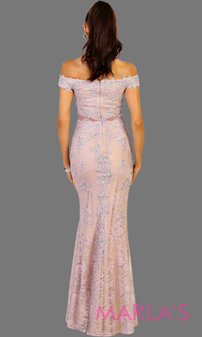 Back of Long off shoulder lilac lace mermaid evening dress. Perfect for gala, wedding reception, engagement shoot. This light purple or lavendar is available in plus sizes.