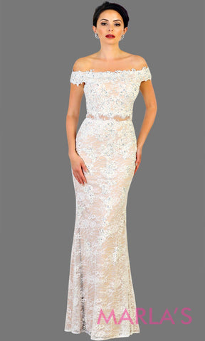 Long off shoulder ivory white lace mermaid bridal evening dress. Perfect for destination wedding, wedding reception, engagement shoot. This simple mermaid off white full length gown is available in plus sizes.
