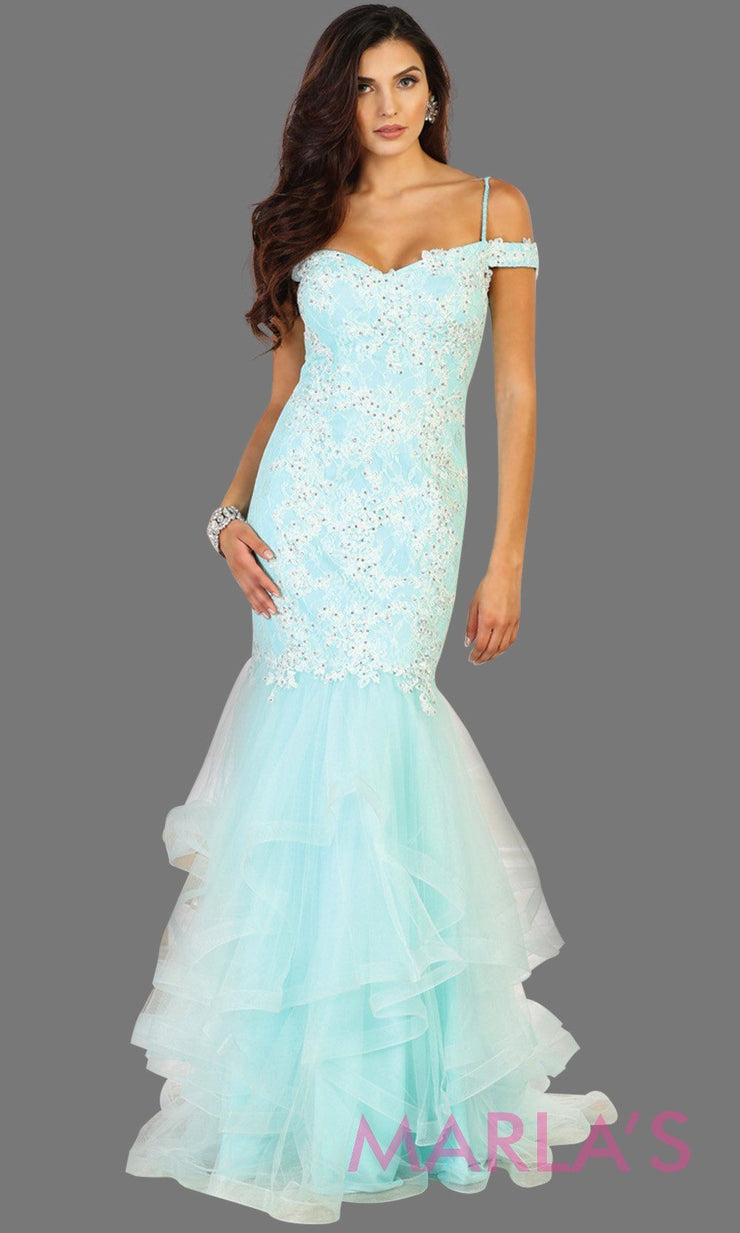 Long mermaid aqua blue off shoulder dress with beading and ruffled skirt. Perfect for prom, engagement dress, wedding reception dress, formal wedding guest dress. Available in plus sizes.